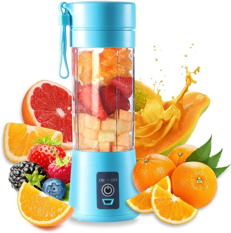 HANBO 380ml Electric Portable Juicer Blender Cup, Household Fruit Mixer with Six Blades in 3D, USB Rechargeable Juice Blender Magnetic Secure Switch Electric Fruit Mixer (Blue)