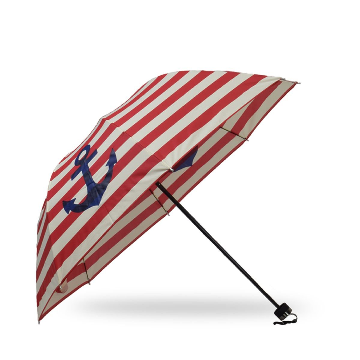 Sonia Originelli Taschenschirm Maritim Anker Streifen Regenschirm Schutz Farbe Grau SCHIRM7-MAR-rot