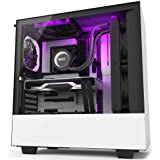 NZXT H210i - Mini-ITX PC Gaming Case - Front I/O USB Type-C Port - Tempered Glass Side Panel Cable Management - Water-Cooling Ready - Integrated RGB Lighting - Steel Construction White/Black H510i