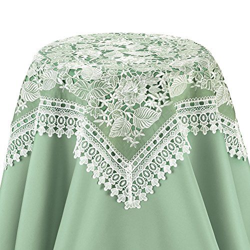 Collections Etc Exquisite Lace & Organza Vintage-Look Table Linens, Square