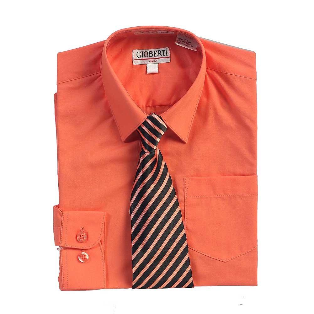 Amazon Coral Button Up Dress Shirt Black Striped Tie Set