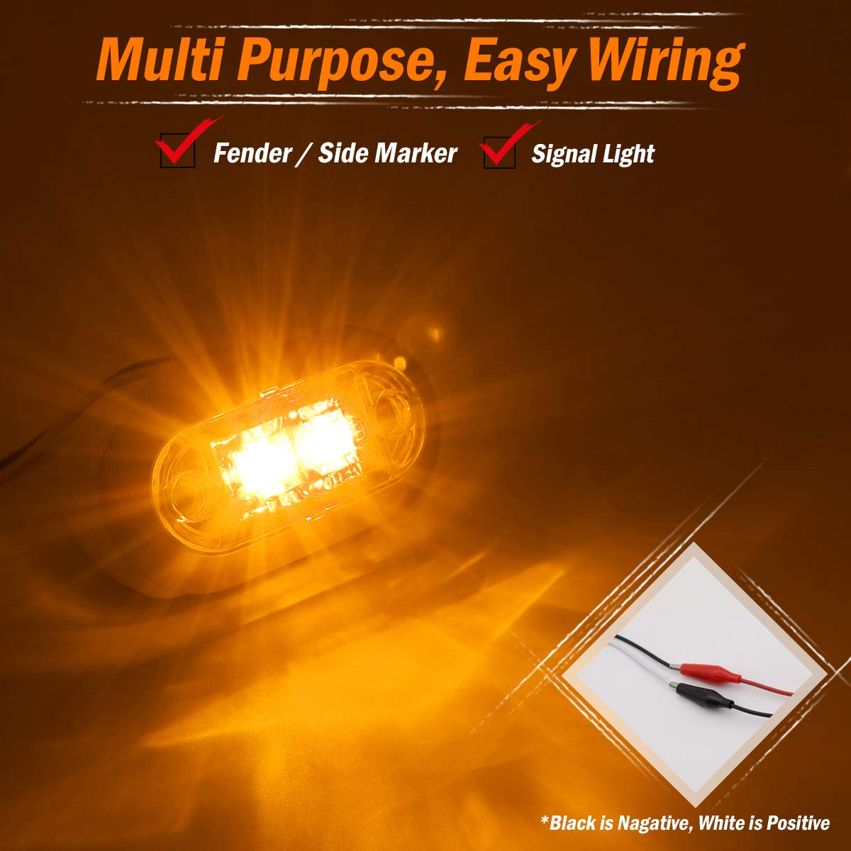 """2.5/"""" Inch Oval Clear Lens 10 Amber /& 10 Red Oval 2 LEDs Surface Mount SMD Extra Bright Side Marker Clearance Lights Trailer Jeep Van Truck SUV Bus RV w//Chrome 10-30V DC LM-CHS Pack of 20 Meerkatt"""