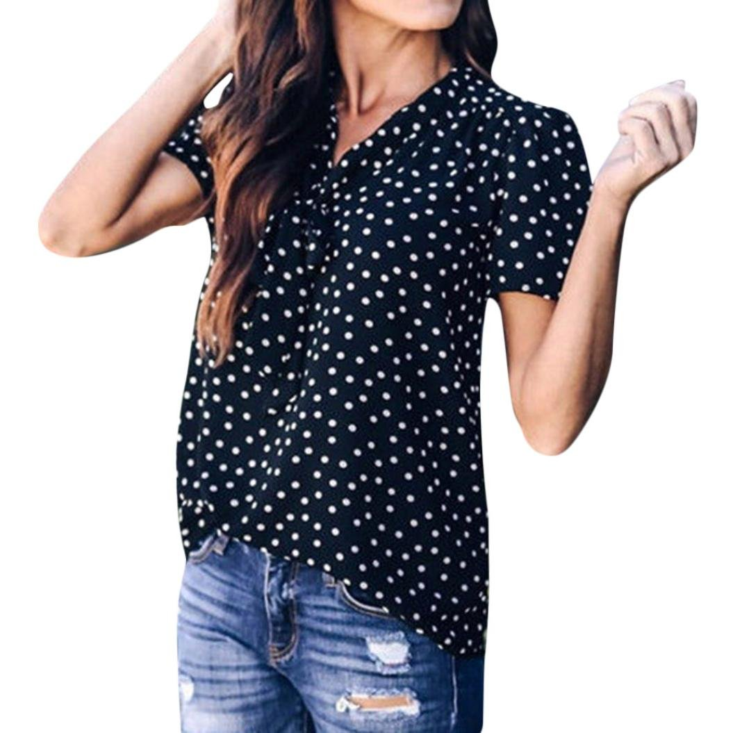 TIFIY Frauen Polka-Punkt Bell Sleeve Flare Sleeve Bluse Sommer Mode Bogen T-Shirt Tops TIFIY-tops-0608