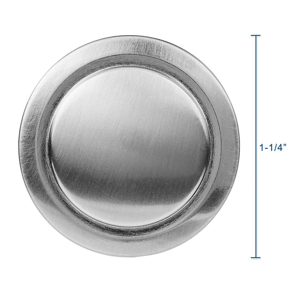Lizavo Brushed Satin Nickel Kitchen Cabinet Knobs Modern Round Pulls Hardware for Drawer Dresser– 1-1/4 inch Diameter, 25 Pack by LIZAVO (Image #2)