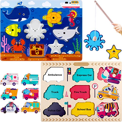 iPlay, iLearn Wooden Peg Puzzles, Magnetic Fishing Pole Game, Jigsaw Board, Vehicles,Ocean Animal, Language Learning Educational Toy For 1 2 3 Year Olds Toddlers, Kids, Boys, Girls ()