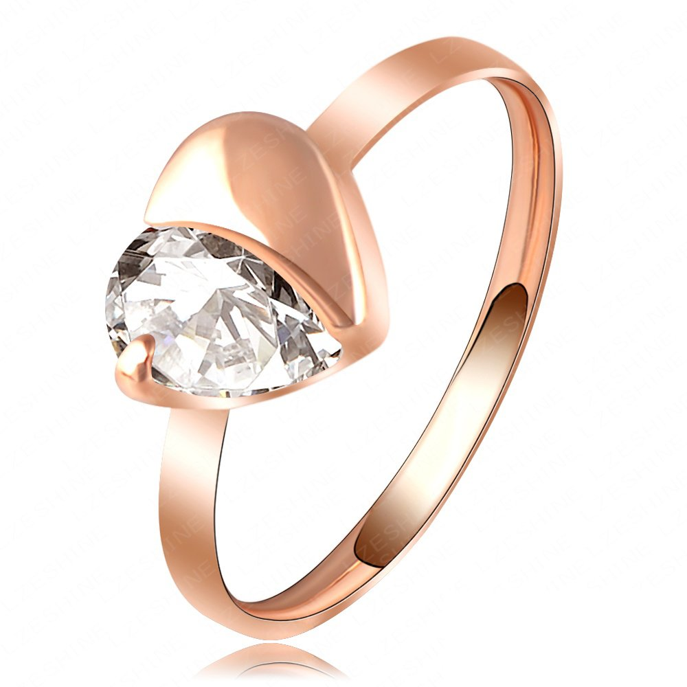 Evertrust (TM)LZESHINE Brand Love Ring Simple Gold/Rose Gold Plated Austrian Crystal Heart Ring SWA Elements Wedding Rings Ri-HQ1080
