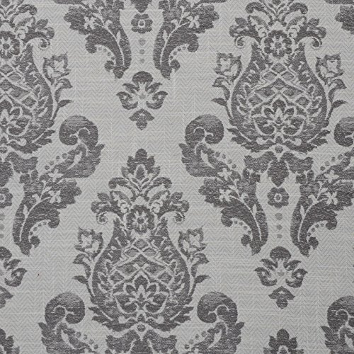 Slate Gray Neutral Damask Traditional Linen Woven Upholstery Fabric by The Yard
