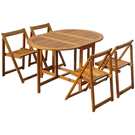 Tavolo Sedie Legno Acacia.Vidaxl Set Tavolo Sedie Giardino 5x Legno Acacia Tavolino Seggiole
