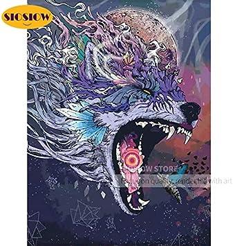 FHGFB 5D-DIY-Diamante Pintura Imagen Diseño Animal Cabeza de Lobo Colorido Punto de Cruz Bordado de Diamantes Hombres Regalo Decoración del hogar Sin Marco-Diamante Redondo (40x50 cm)