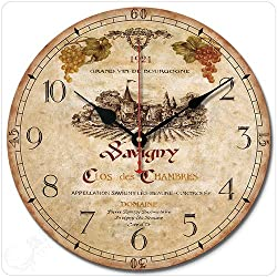 12 Retro Vintage Wine Estate French Style Non-Ticking Silent Wooden Wall Clock Art Decoration.