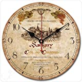 12″ Retro Vintage Wine Estate French Style Non-Ticking Silent Wooden Wall Clock Art Decoration.