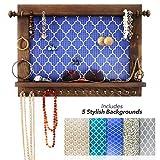 BDOT Hanging Jewelry Organizer Wall Mounted – Rustic Wooden Jewelry Hanger, Bracelet Earring Holder Wall Necklace Storage Organizer, Boho Bedroom Decor