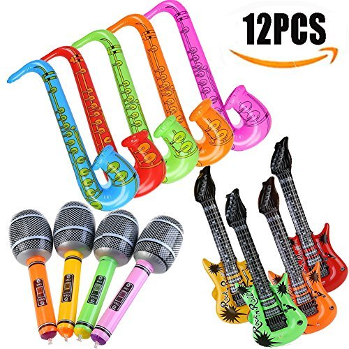 Yojoloin 12PCS Inflatables Guitar Saxophone Microphone Balloons GTR For Party Supplies Party Favors Balloons Random Color (12 -
