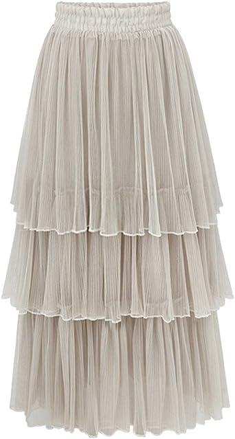 ZhuiKun Mujer Maxi Faldas Largas de Cintura Alta Tul Faldas de ...