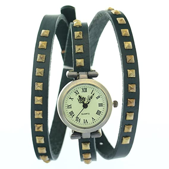 CLW Cuero de Vaca Verde Band Roma Números antiguos antiguos Relojes Vintage