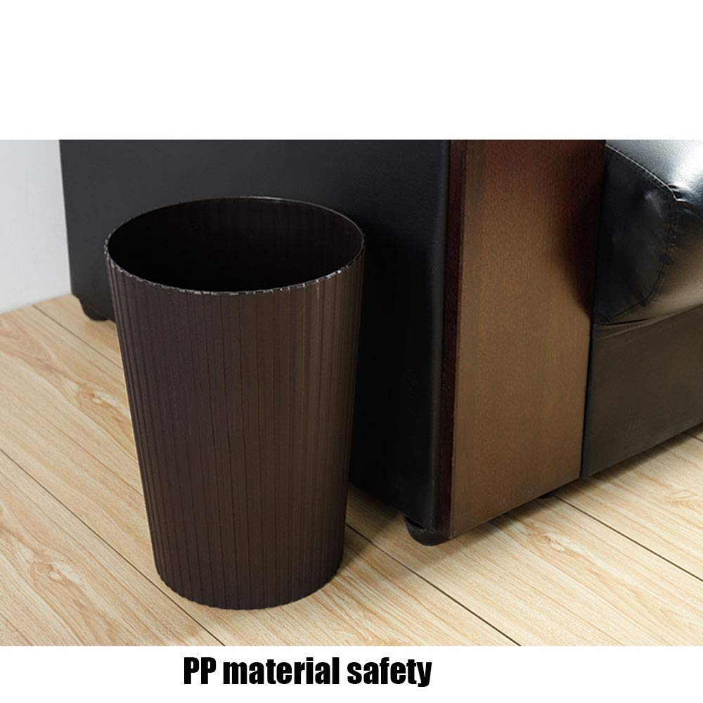 Farbe : Braun HUACANG Vertikaler Schrubberkorb Einfacher Einfarbiger Altpapiereimer Schlafzimmer Küche Wohnzimmer Küche Kreativer Gerippter Papierkorb Abfall & Recycling
