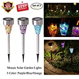 Solar LED Garden Lights Outdoor Stake Lights Stainless Steel Landscape Lighting 7 Color Changing Pathway Lights for Christmas Walkway Patio Yard Lawn Driveway Flowerbed
