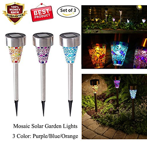 Solar Powered Led Mosaic Glass Garden Stake Lights in Florida - 3