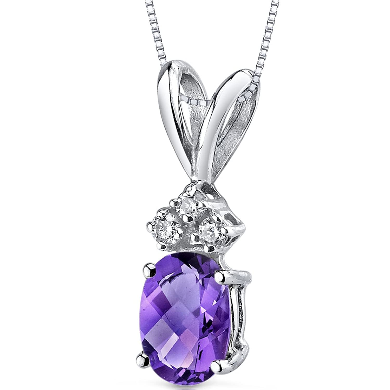 14 Karat White Gold Oval Shape 0.75 Carats Amethyst Diamond Pendant