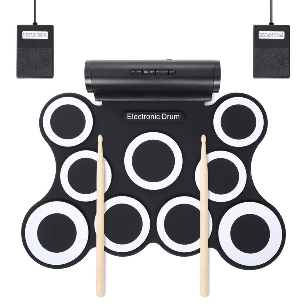 USB MIDI Roll Up Electronic Drum Set Support DTX Game Practice Drum Kit With 9 Silicon Pads Built-in Double Stereo Speaker Headphone Jack Sustain Pedals Drum Sticks Recording Playback Functions Gift F by Techecho