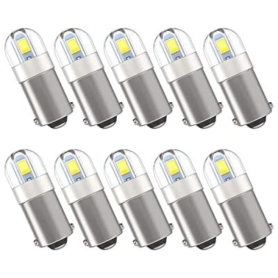 Serundo Auto BA9S Led Bulb BA9 1895 1891 53 57 Led Bulb, 2SMD 3030Chips 6000K White 47830 64111 3893 LED Bulb for Car Interior Dome Map License Plate Glove Box Light etc, Pack of 10pcs: Automotive