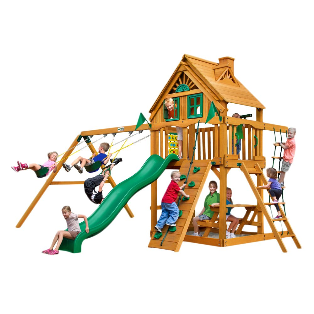 amazon com modern chateau treehouse swing set with amber posts