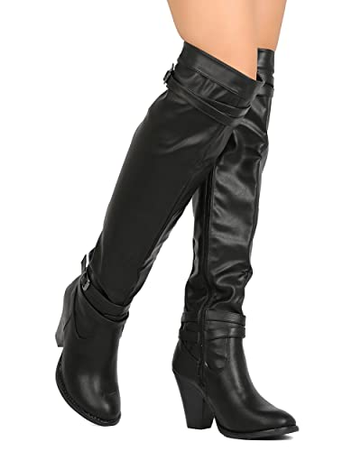 087be8cc00 Leatherette Over The Knee Buckled Chunky Heel Riding Boot FH70 - Black  (Size: 6.0