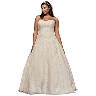 David\'s Bridal Allover Beaded Plus Size Ball Gown Wedding Dress ...