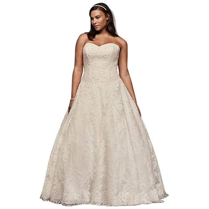David\'s Bridal Allover Beaded Plus Size Ball Gown Wedding ...
