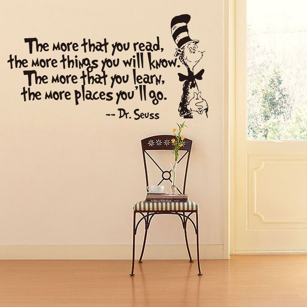 Removable Quotes and Saying Dr. Seuss the More You Read, the More Things You Will Know Transfers Murals Reading Wall Decal Love Baby Kids Children Bedroom School Art Wall Decals Stickers by Dofel (Image #5)