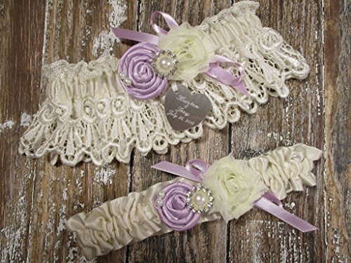 Ivory Lace Wedding Garter Set with Custom Colors Roses and Personalized Engraving