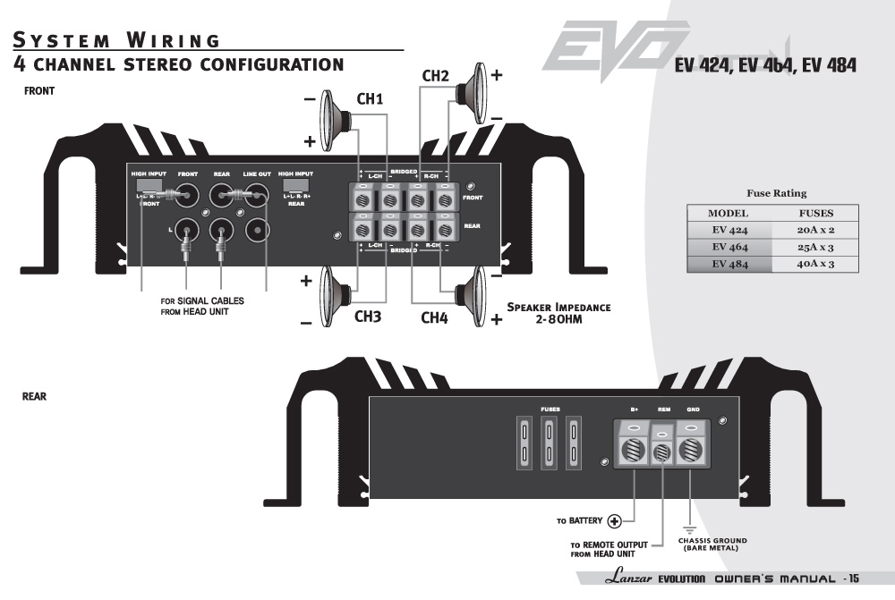 amazon com lanzar ev464 evolution series 3000 watt 4 channel smd system wiring diagram
