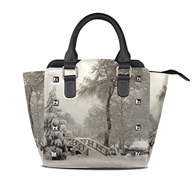 9f80867c6b8 Image Unavailable. Image not available for. Color: Handbags Winter Bridge  Christmas Womens Genuine Leather Vintage Tote Shoulder Bag Top-handle ...