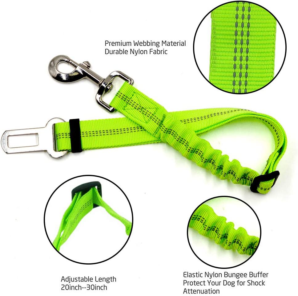 Fluorescent Green Dog Cat Car Safety Seat Belt Harness Adjustable Leads Harness for Cars Vehicle Tie langxian Dog Seat Belt