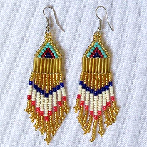 Small Chandelier African Zulu beaded earrings Gold//Pink//Red//Blue