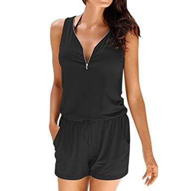 e04f64b6cd Jumpsuit for Women Jamicy Zipper Shorts Playsuit Summer Beach Casual  Sleeveless Rompers  Amazon.co.uk  Clothing
