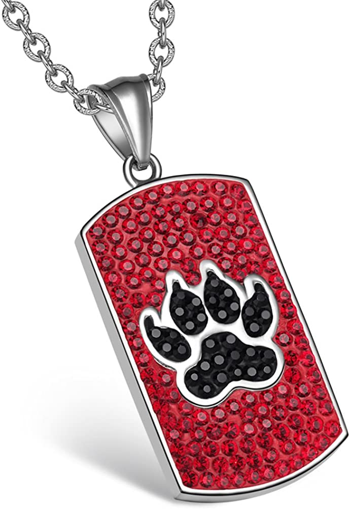 Heart and Wolf Paw Austrian Crystal Love Couples Best Friends Dog Tag White Sky Blue Red Black Necklaces