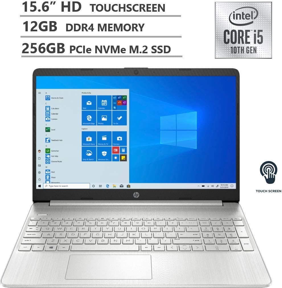 "HP 2020 Newest 15.6"" HD Touchscreen Intel 10th Gen i5-1035G1 3.6GHz 12GB RAM 256GB SSD Webcam Wireless-AC Bluetooth Type-C HDMI Win10 Silver Laptop"