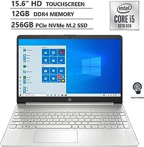 "HP 2020 Newest 15.6"" HD Touchscreen Intel 10th Gen i5-1035G1 3.6GHz 12GB RAM 256GB SSD Webcam Wireless-AC Bluetooth Type-C HDMI Win10 Silver Laptop"
