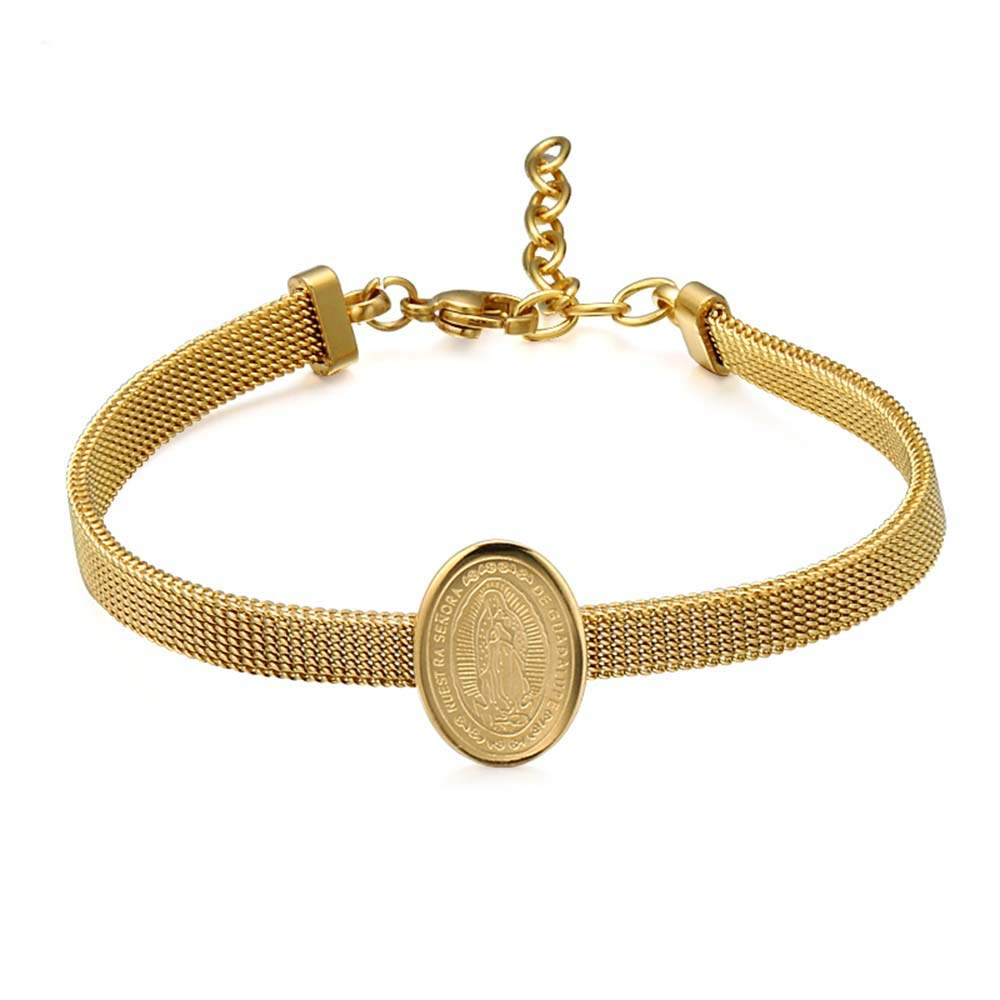 WeBuyNow Religious Virgin Mary Bracelets Bangles Gold Color 316L Stainless Steel Our Lady Charm Jewelry Wristband Friend Gifts
