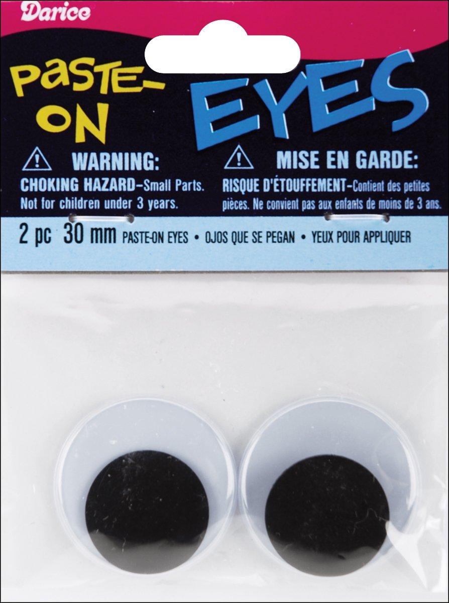 Darice Paste On Wiggle Eyes 30mm Black (12 Pack)