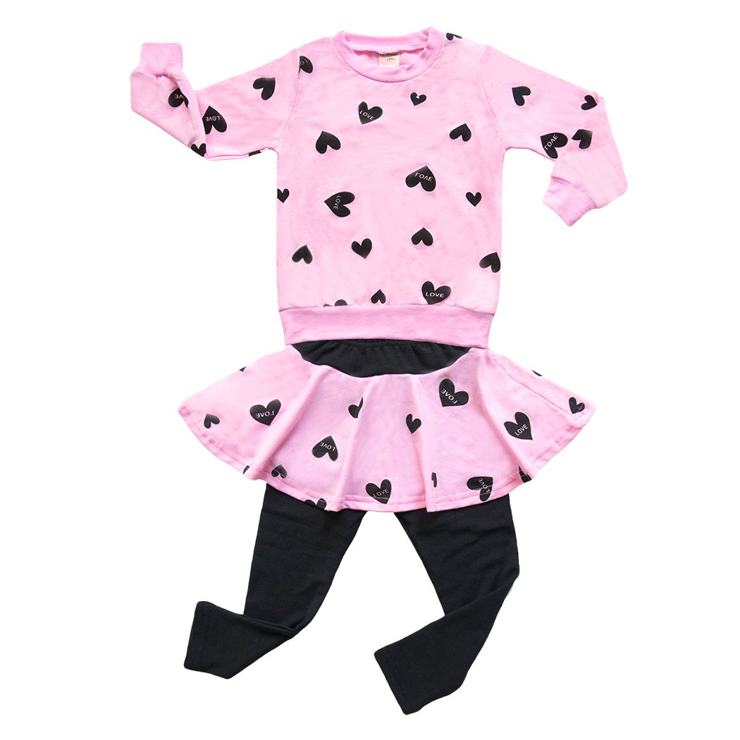 COCM10 Little Grils Kids Long Sleeve Dresses+Pants Leggings Bowknot Heart Two Pieces Sets Outfit Sleepwear Age 1 2 3 4 5 6 7 8Years