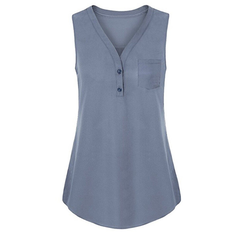 Sexy Women Summer Loose Pullover V Neck V Neck Tank Solid Top Sleeveless Top Blouse Gray