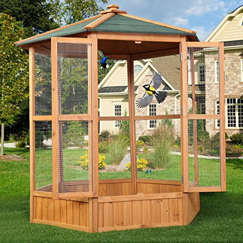 "JAXPETY 64"" Wooden Heavy Duty Bird Cage Parrot Walk in Large"