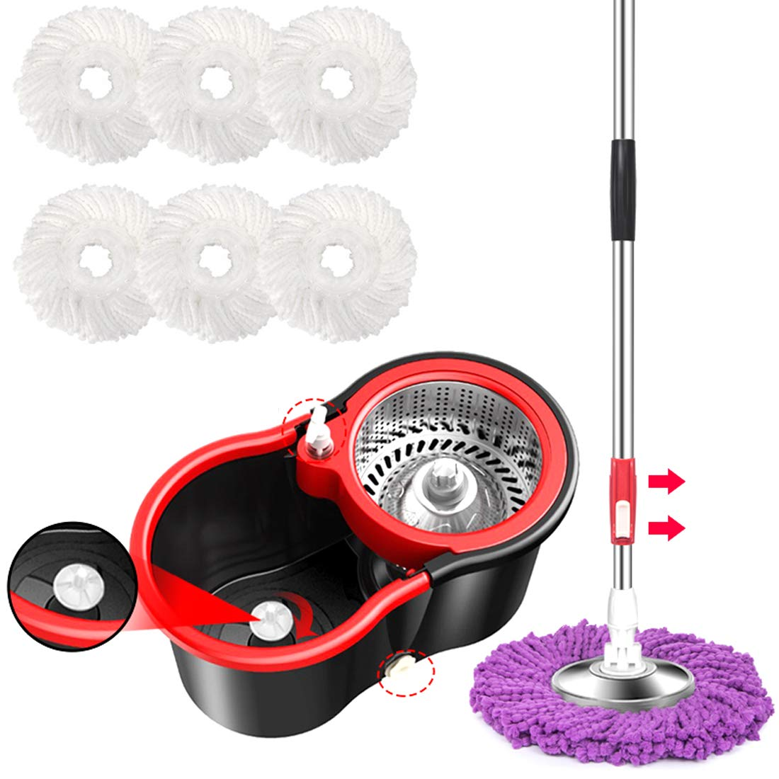 YFLY Bucket System Deluxe Stainless Steel Spinning Mop with 61'' Silent Extended Handle, 2X Wheels, 6 Microfiber Replacement Head, Drain Outlet, Detergent Dispenser, for Home by YFLY (Image #3)