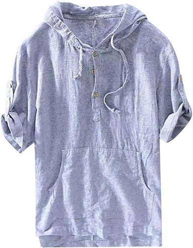 Hombre Camisas con Capucha Básico Rayas Camisetas de Manga Corta Retro Color sólido Camisa de Botones con cordón Casual Blusa de Trabajo Tallas Grandes Sudadera Suelta Transpirable Tops Gusspower: Amazon.es: Ropa y