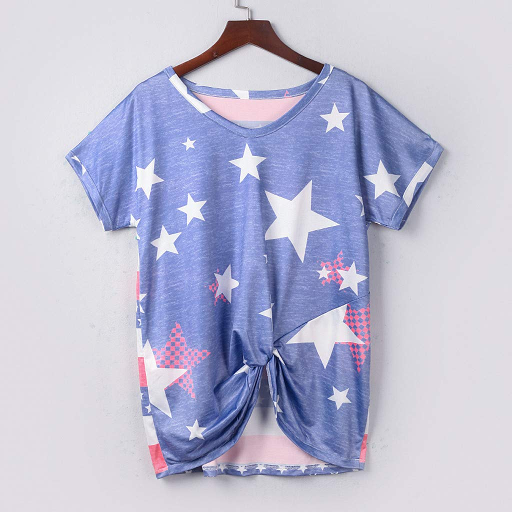 Eaktool Shirts for Women,Womens Fashion Summer Short Sleeve O-Neck Tops Casual Loose T-Shirts Blouse