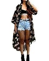 Women Coverup,Neartime Floral Print Chiffon Shawl Kimono Cardigan Black Cover up