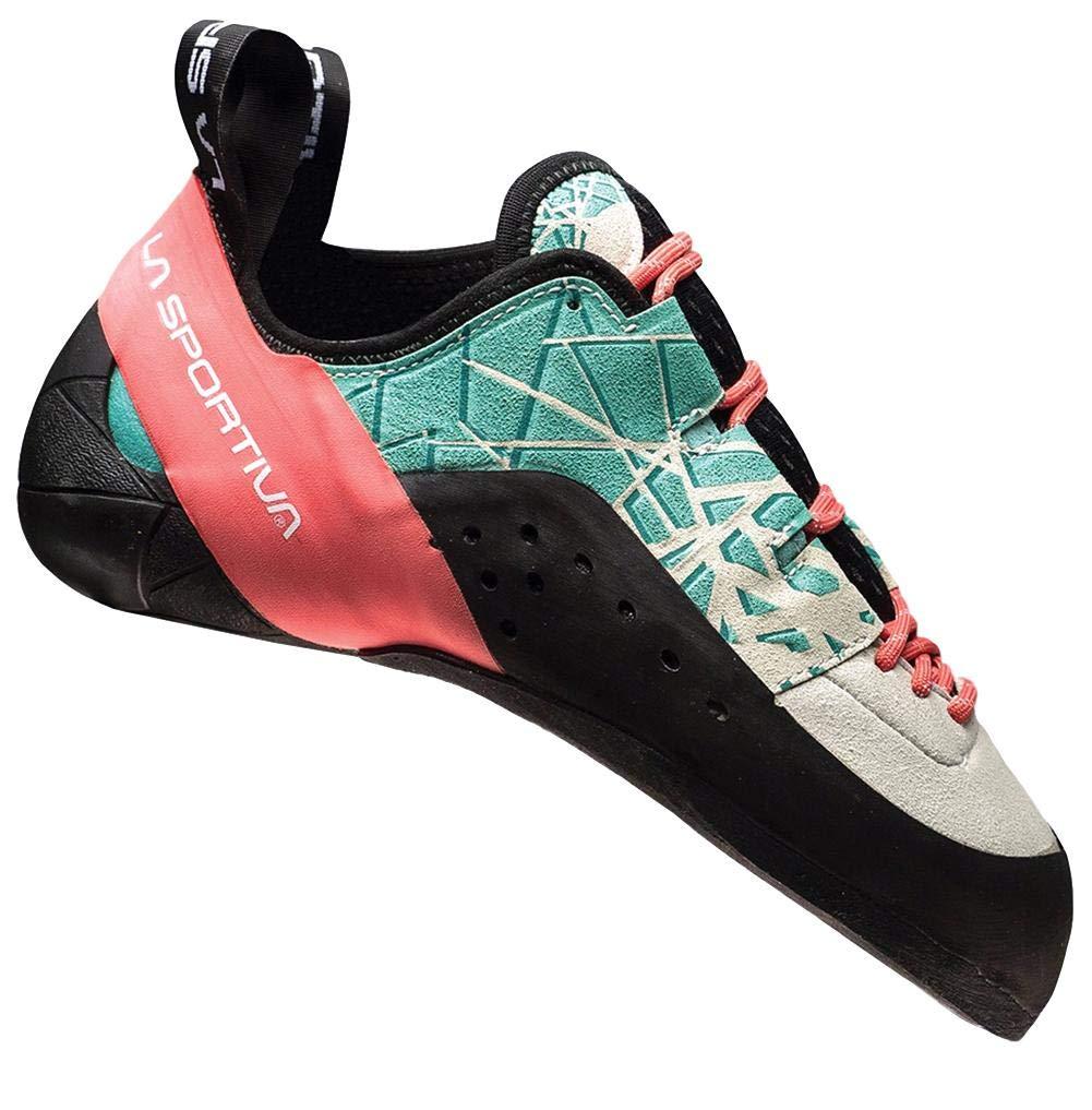 La Sportiva Women's Kataki Climbing Shoe, Mint/Coral, 37 by La Sportiva