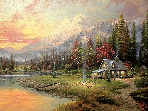 Thomas Kinkade. - Evening Majesty -Oil Painting On Canvas Modern Wall Art Pictures For Home Decoration Wooden Framed (12X16 Inch, Framed)